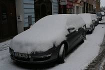 Sníh ve Strakonicích v neděli 8. ledna ráno.