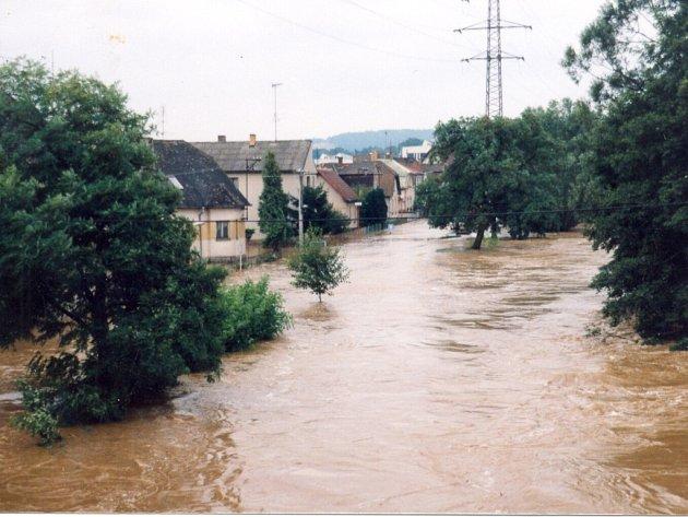 Zatopené zahrádky mezi Barvínkovem a Blatským rybníkem ve Strakonicích.