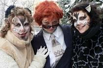"""Mezi akce, kreré se v Drážově, Dobrši, Zálesí i Kváskovicích konají s naprostou pravidelností, patří i masopust. Kromě typických postav se  v průvodech stále častěji objevují i nové masky. Tyto """"kočičky"""" jsou ze Zálesí."""