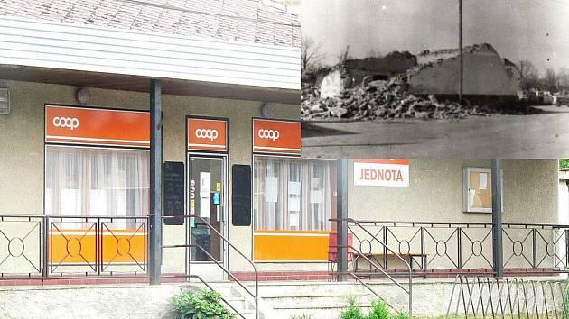 Dnešní podoba pošty a prodejny.  Ve výřezu je zachycena část bývalé kovárny u Bartošů.