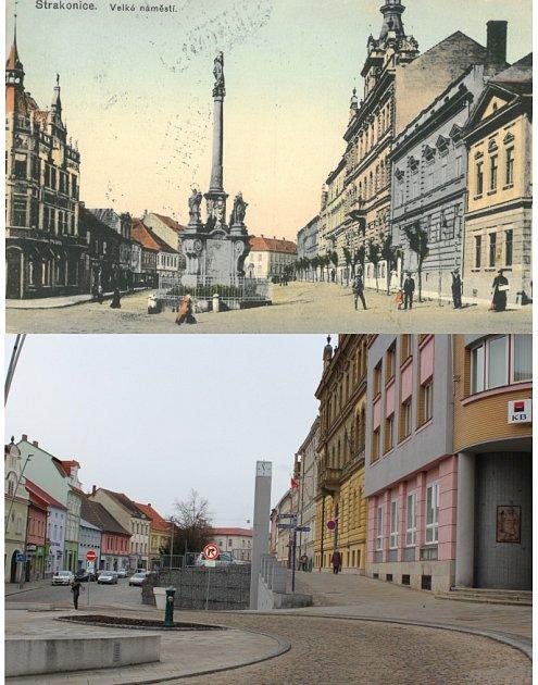 Strakonické náměstí včera a dnes.