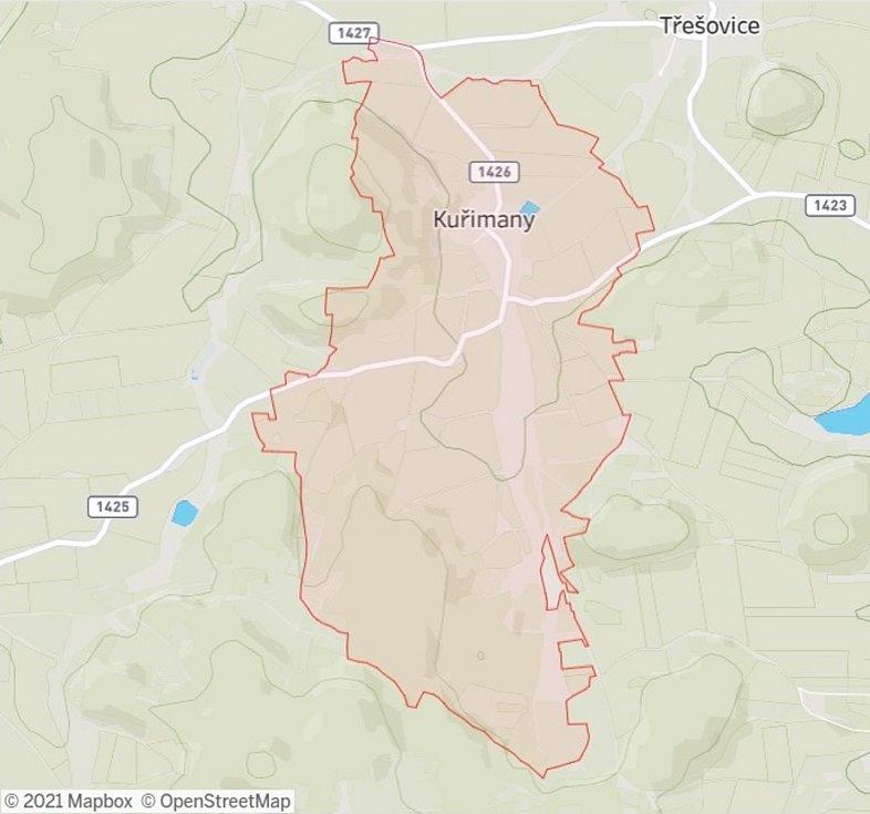Katastrální území obce Kuřimany.
