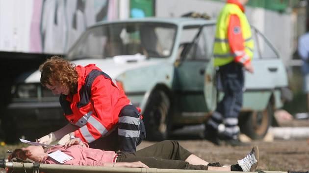 Tématické cvičení záchranářů v Katovicích.