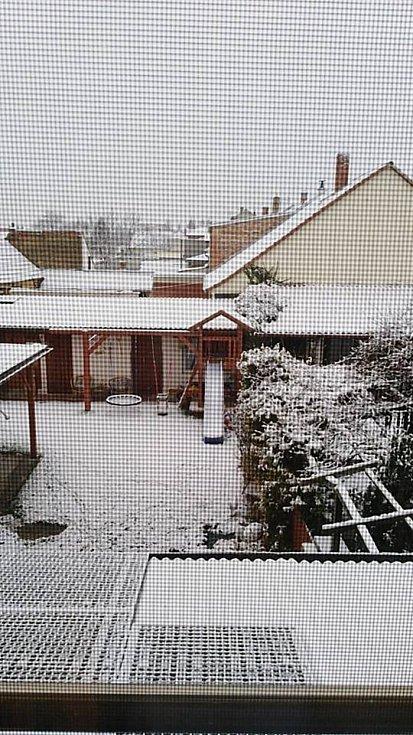 První sníh. Vodňany.