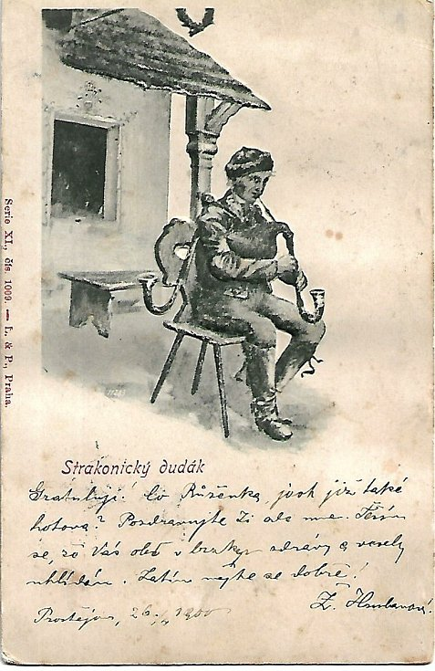 Staré strakonické pohlednice s dudákem.