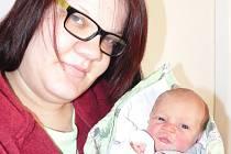 David Vavruška, Vodňany, 13.1. 2016 v 19.42 hodin, 2950 g. Malý David je prvorozený.