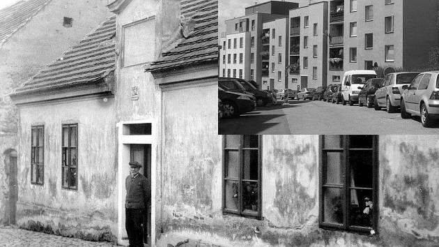 Rodný dům F. L. Čelakovského ještě předtím, než byl zbořen kvůli chátrajícímu stavu.  Na jeho místě stojí v současné době obytné domy (výřez). Jedná se o ulici Čelakovského.