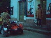 Film Páni Edisoni. Před prodejnou v Litochovicích inseminátor Hubička (Franta Kocourek) sděluje zootechničce Majdalénce Čadové (Jitka Molavcová), že je problém s býkem.