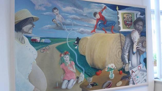 Výstava obrazů čtyř malířů.