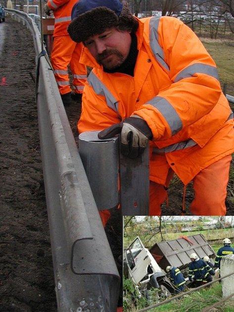 Loni  10. října došlo právě v místech, kde silničáři instalují svodila (na snímku), ke smetelné dopravní nehodě.