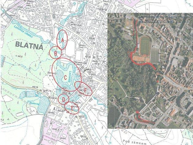 Fotomapa Blatné v místech, kde budou protipovodňová opatření. Na mapce jsou jednotlivé lokality.