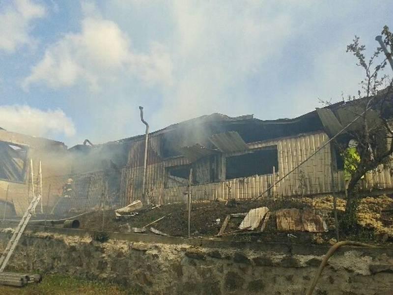 Požár truhlárny v Řištích na Blatensku