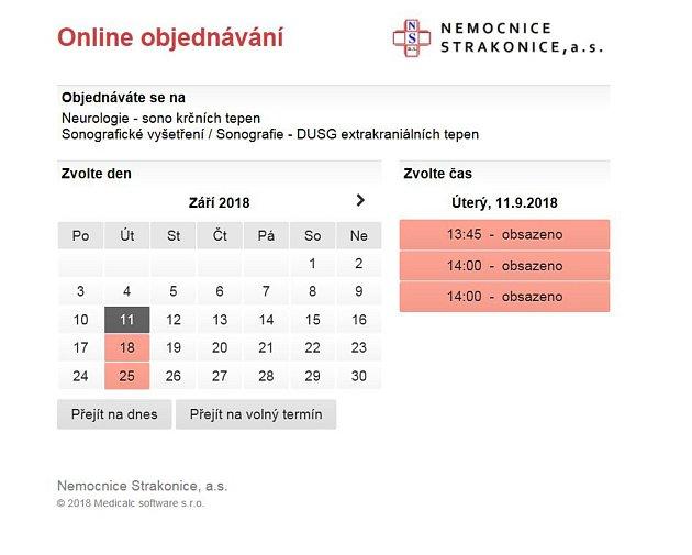 Pacienti se mohou objednat přes web nemocnice.