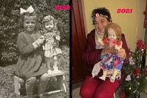 Marie Kovářová a její oblíbená panenka.