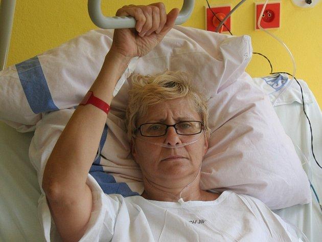 Vlastimila Ligenzová se zotavuje na chirurgickém oddělení strakonické nemocnice. Před deseti dny jen o vlásek unikla smrti. Ji i jejího přítele málem rozdrtil strom. Foto: