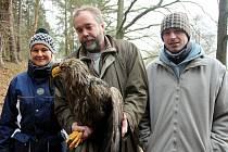 Jiří a Dana Holečkovi ze Skaličan na Blatensku našli zraněného orla.