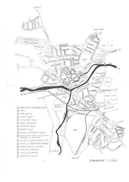 Mapa starých názvů ulic Strakonic.