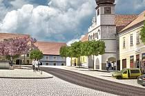 Vizualizace nové podoby náměstí ve Volyni.