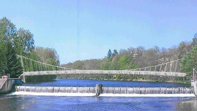 Vizualizace lávky, která by se mohla objevit v blízkosti mostu Jana Palacha a  strakonického hradu.