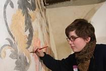 Na snímku renovuje malbu Marie Cechlová.