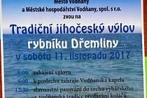 Výlovy rybníků na Vodňansku vyvrcholí v sobotu 11. listopadu rybníkem Dřemliny.