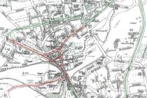 Doprava v centru. Červenou barvou jsou na mapě vyznačeny uzavírky ve středu Strakonic, zelená barva znázorňuje objízdnou trasu.