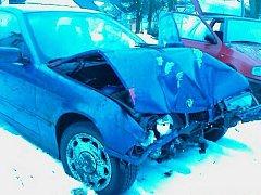 BMW po nehodě.