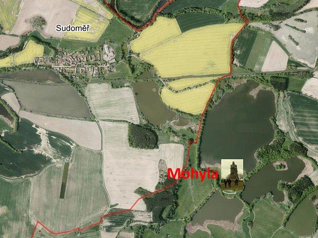 Mapa okolí Sudoměře