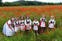 Mladé slečny z kroužku Baráčníků v Radomyšli se fotily v makovém poli.