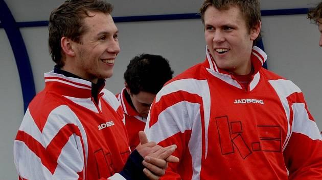 Blatná porazila Mirotice 3:0, všechny góly dal Jakub Nový (vlevo).