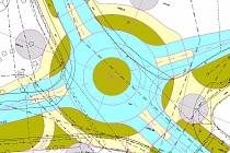 Plány kruhové křižovatky ulic Na Ohradě a Ellerova.