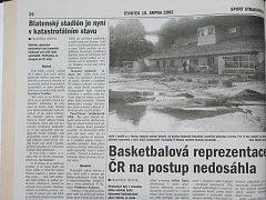 Takto o zatopených sportovištích informovaly Listy Strakonicka.