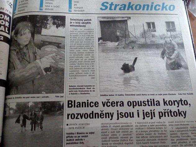 Tehdejší Strakonický deník.