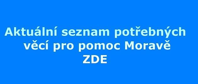 Aktuální seznam potřeb na pomoc Moravě.
