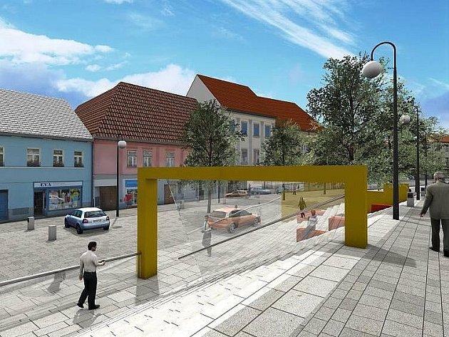 Návrh ateliéru Genesis počítá s plynulým propojením obou částí Velkého náměstí pozvolným schodištěm prakticky v celé délce.