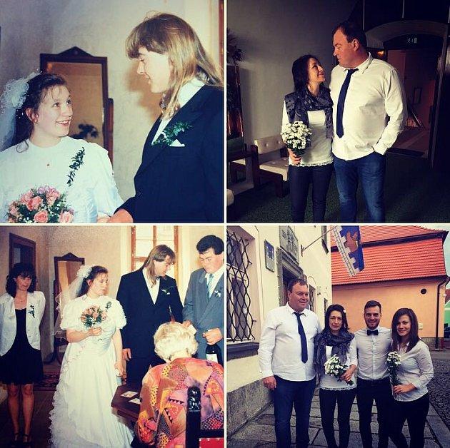 """Svatbu v  termínu 30. dubna  zažili Věra Maříková a Roman Říha. Za  svědky """"opakovaným"""" novomanželům šli dcera Aneta a synovec Michal,  kteří na první svatbě  byli  také přítomni, ale prozatím jen se svými maminkami."""