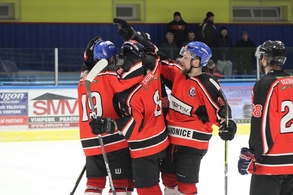 Hokejisté Strakonic vyhráli v Krumlově 5:2. Ilustrační foto.