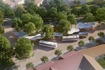 Takto by mohlo vypadat autobusové nádraží ve Vodňanech podle architektonického studia Projektil,