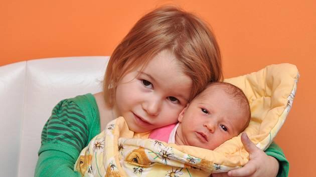 Adéla Pelešková ze Strakonic. Adélka se narodila 19. prosince 2018 v 8 hodin a 9 minut a při narození vážila 2890 g. Na Adélku doma čeká sestřička Klárka (3).