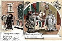 Dobové pohlednice s tématikou mikulášské obchůzky.