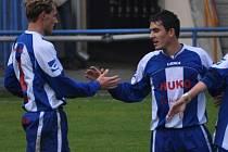Střelci dvou gólů - zleva Milan Glazunov a František Bambule.