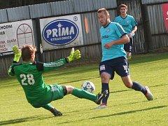 Katovičtí fotbalisté doma smetli Třeboň 4:0, všechny góly dali do přestávky.