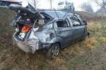V pátek 10. ledna ráno se stala na silnici mezi Katovicemi a Horaždovicemi dopravní nehoda. (Foto: Archiv PČR)