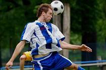 Strakonice (v modrém) doma ve 26. kole divize porazily Bohemians 1905 B 2:1 (2:0).