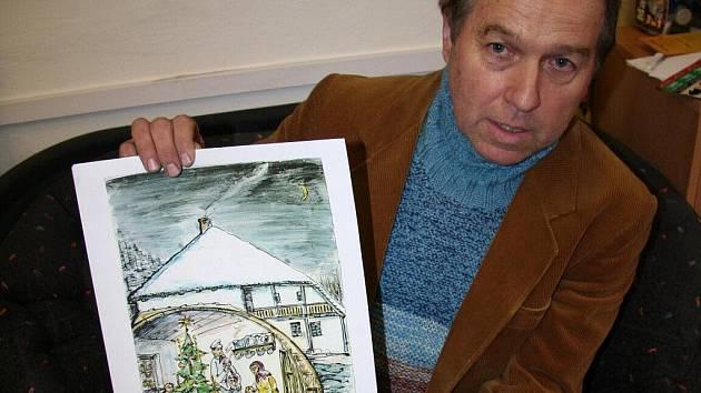 Milan Kos přinesl vlastnoručně vyrobené přání klidných a pohodových Vánoc.