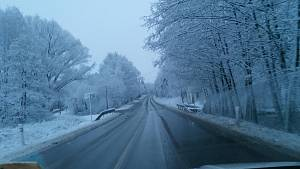 Sněžení v pátek 5. března.