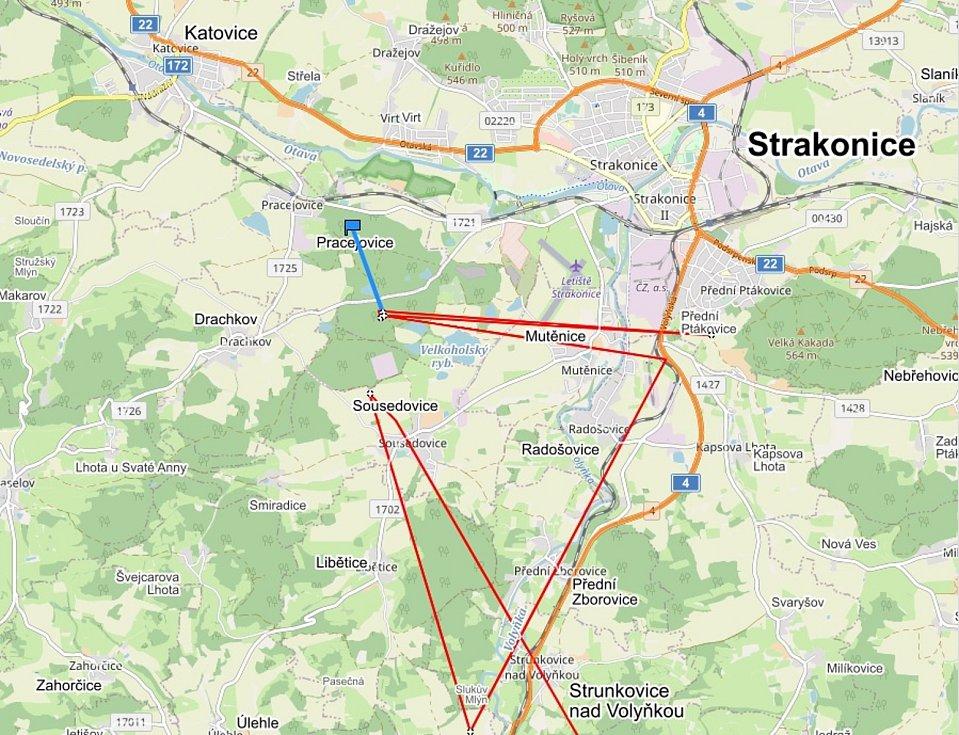 Jeho pohyb na Strakonicku.