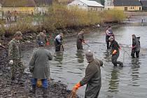 Rybáři lovili rybník v Čejeticích.
