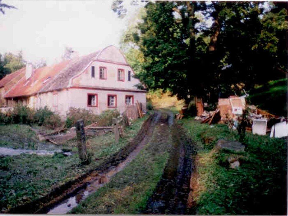 Povodně v chatové osadě Baroch u Zahorčic.