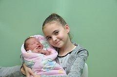 Sofie Bernasová, Katovice, 23. 11. 2017, ve 20.24 hodin, 3890 g. Desetiletá Šarlotka má malou sestřičku.